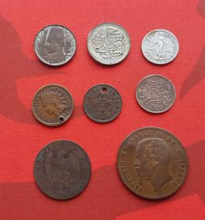 Lot of 8 Coins, Various Condition Few Slivers