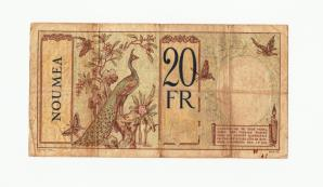 New Caledonia (French) 20 Francs 1929 P37a FINE/VF Condition